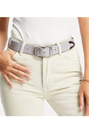 Glamorous Exclusive belt in lilac croc with silver tip-Purple