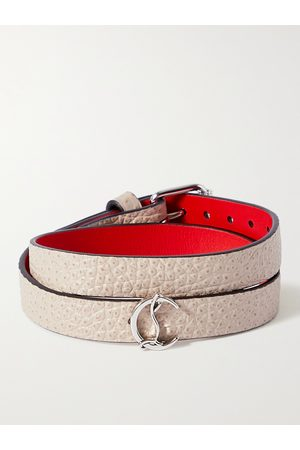 Christian Louboutin Homem Pulseiras - Silver-Tone and Textured-Leather Wrap Bracelet