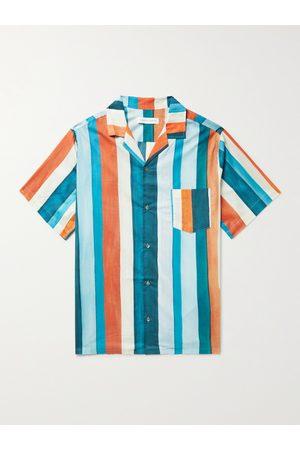 Desmond & Dempsey Homem Pijamas - Cuban Camp-Collar Striped Cotton Pyjama Shirt