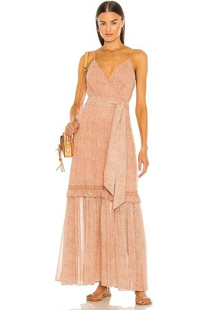JONATHAN SIMKHAI Gia Printed Crinkle Chiffon Dress in - Rust. Size 0 (also in 2, 4, 6, 8).