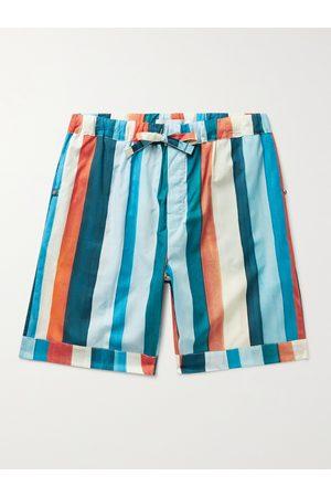 Desmond & Dempsey Homem Pijamas - Striped Cotton Pyjama Shorts