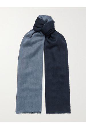 Loro Piana Homem Cachecóis & Echarpes - Fringed Colour-Block Cashmere and Silk-Blend Scarf