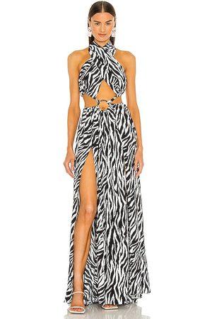 Bronx and Banco Zebra Maxi Dress in - Black,White. Size L (also in XS, S, M).