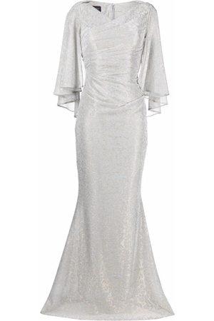 Talbot Runhof Metallic-effect cape-detail dress