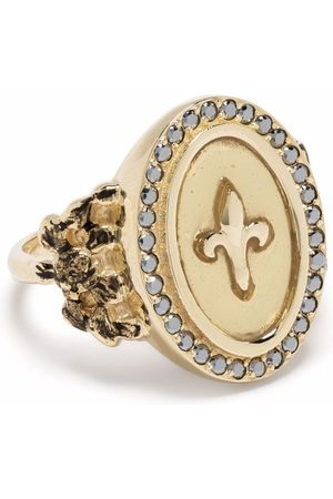 Feidt Paris 9kt yellow Fleur de Lys sapphire signet ring