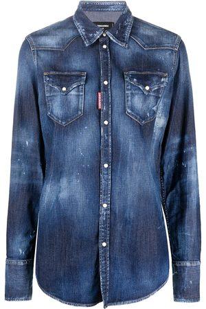 Dsquared2 Senhora Ganga - Stonewashed distressed-effect denim shirt
