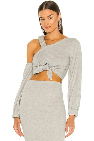 Michael Costello X REVOLVE Axel Crop Top in - Grey. Size L (also in XXS, XS, S, M, XL).