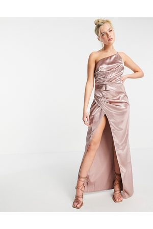 Little Mistress Senhora Vestidos Compridos - One shoulder drape maxi satin dress with split in oyster grey