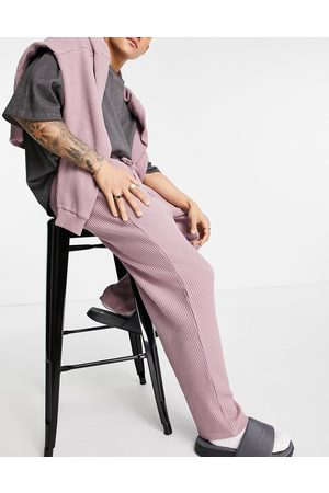 ASOS Co-ord oversized jumbo waffle joggers in lilac-Pink