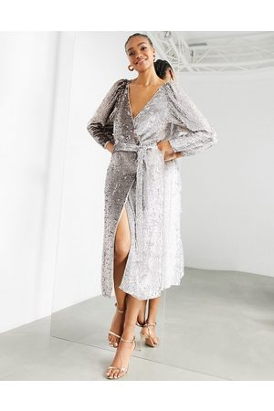 ASOS Ombre sequin wrap dress in silver