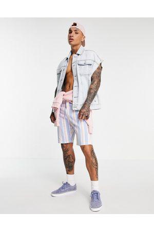 ASOS Slim denim shorts in pink and blue stripe-Multi