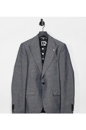 Twisted Tailor TALL suit jacket with micro geo jacquard in metallic grey-Blue
