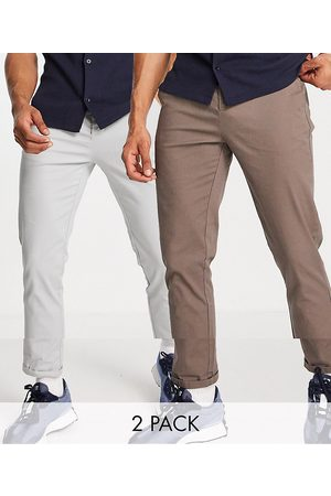 ASOS 2 pack slim chinos in brown and light grey save-Multi
