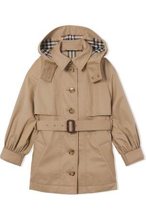 Burberry Kids Menina Gabardinas - Detachable-hood trench coat