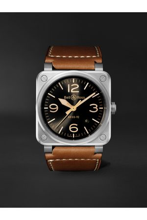 Bell & Ross Homem Relógios - BR 03-92 Golden Heritage Limited Edition Automatic 42mm Stainless Steel and Leather Watch, Ref. No. BR0392-GH-ST/SCA