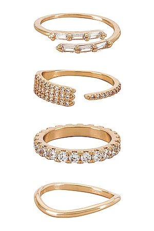 Ettika Crystal Embellished Ring Set in - Metallic . Size 5 (also in 6, 7, 8).