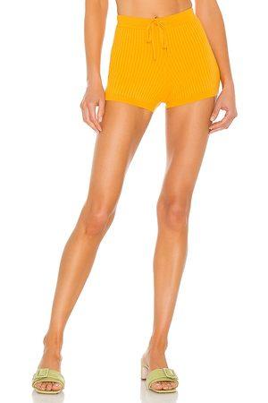 Lovers + Friends Stacie Knit Shorts in - Orange. Size L (also in XXS, XS, S, M, XL).