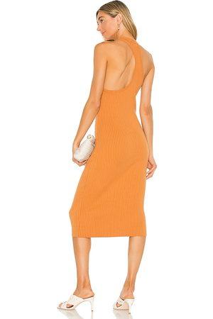 LINE & DOT Lori Asymmetrical Ribbed Midi Dress in - Orange. Size L (also in XS, S, M).