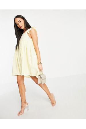 In The Style X Stacey Solomon flutter sleeve mini smock dress in lemon-Yellow