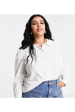 Yours Exclusive oversized collar shirt in white