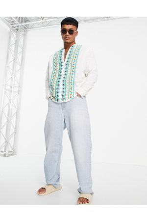 ASOS Linen overhead shirt with chest placement embroidery detail-White