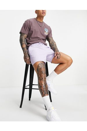 ASOS Slim chino shorts with elastic waist in lilac-Purple