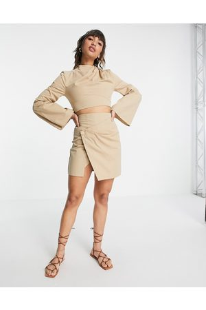 ASOS Twill mini skirt with button detail top in stone co-ord-Neutral