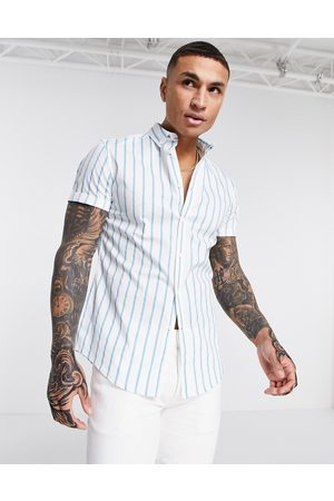 ASOS Stretch slim button down shirt in blue and white stripe