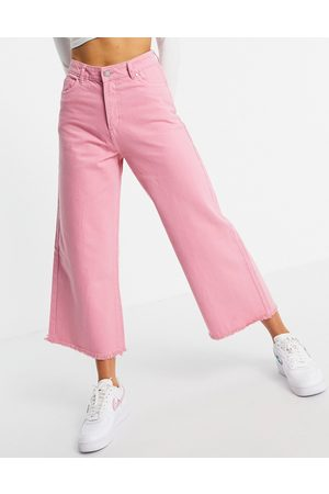 Neon Rose Senhora Jeans - Relaxed wide leg jeans with raw edge in bright pink denim co-ord