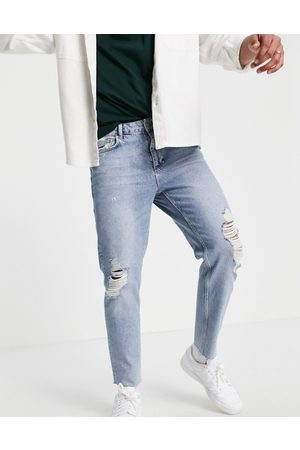 ASOS Classic rigid jeans in bleach wash with rips-Blue