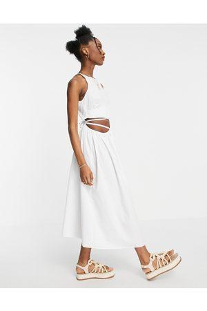 ASOS Cotton poplin tie wrap midi sundress in white