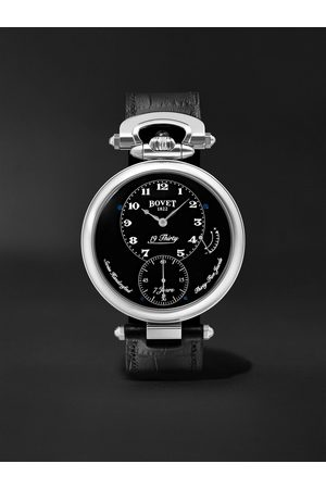 BOVET 19Thirty Fleurier Hand-Wound 42mm Stainless Steel and Leather Watch, Ref. No. NTR0029