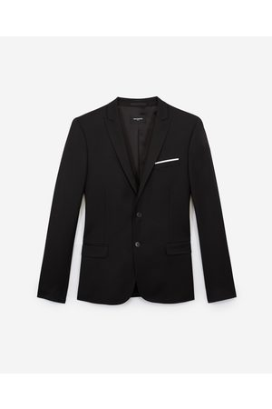 The Kooples Fitted black wool jacket with pocket square