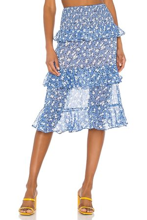 MAJORELLE Everly Midi Skirt in - Blue. Size L (also in XXS, XS, S, M, XL).