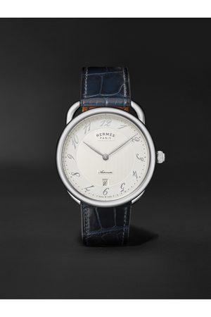 Hermès Homem Relógios - Montre Arceau Automatic 40mm Stainless Steel and Alligator Watch, Ref. No. 55547WW00