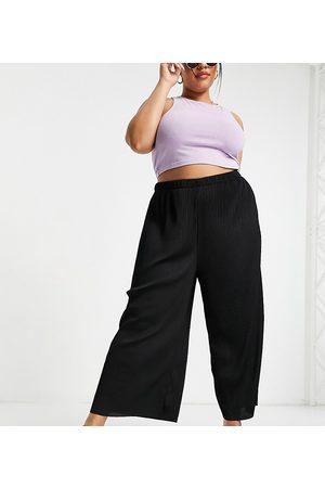 ASOS ASOS DESIGN Curve plisse culotte trousers in black