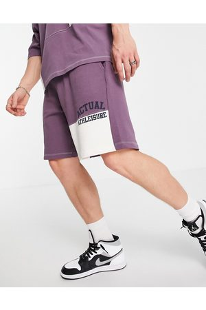ASOS Co-ord oversized short with colourblock cut and sew detailing and logo print in purple