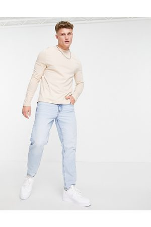 ASOS Long sleeve t-shirt with crew neck in beige-Neutral