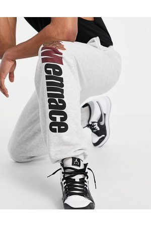Mennace Homem Joggers - Joggers co-ord in grey with basketball print