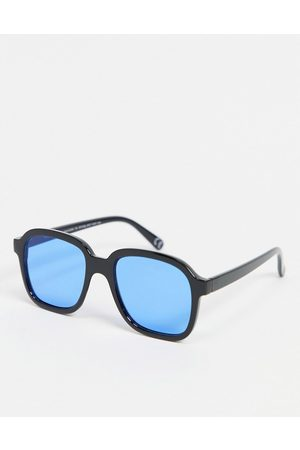 ASOS DESIGN Square sunglasses in black with blue lens and gunmetal detail