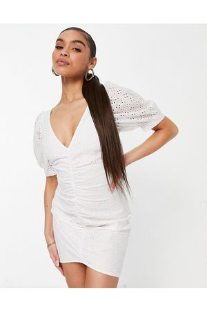 Saint Genies Ruched broderie mini dress in white