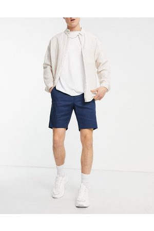 ASOS Homem Calções - Skinny smart short in navy linen