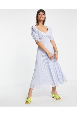 ASOS Ruched front pleated midi dress with shirred waist in chevron dobby in pale blue