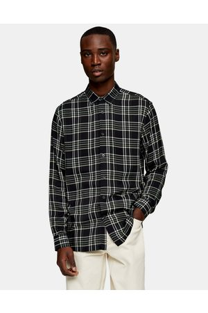 Topman Long sleeve check shirt in black and grey-Multi