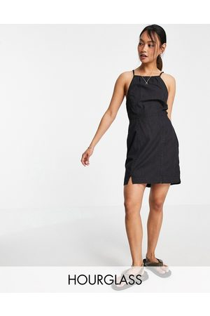ASOS Hourglass soft denim halterneck slip dress in black