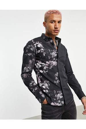 Twisted Tailor Long sleeve shirt with floral fade in black and pink