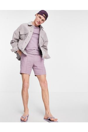 ASOS Slim shorts with pin tuck in lilac linen-Purple