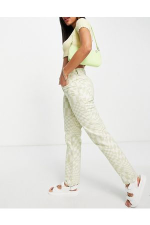 ASOS Mid rise '90's' straight leg jeans in psychedelic check print-Multi
