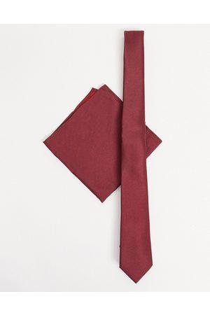 ASOS Satin slim tie & pocket square in burgundy-Red