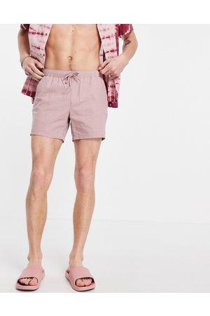 ASOS Slim shorts in pink seersucker